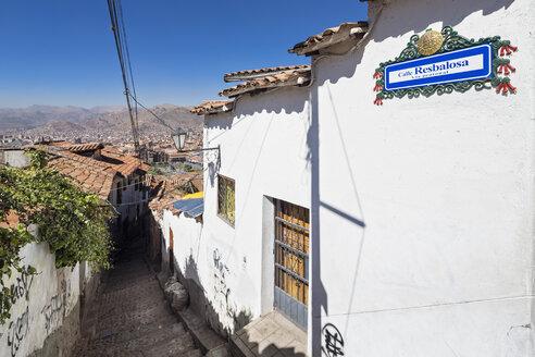 Peru, Cusco, alley with cobblestones in the city - FOF08746