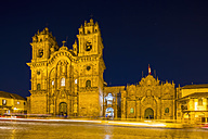 Peru, Cusco, Plaza de Armas and Jesuit Church at blue hour - FOF08764