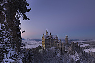 Germany, Bavaria, Neuschwanstein Castle at blue hour in winter - FC01156