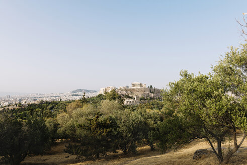 Greece, Athens, Acropolis and Parthenon surrounded by olive trees as seen from Areopagus - GEMF01423