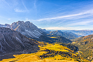 Italy, South Tyrol, Funes Valley, Odle group in autumn - LOMF00489
