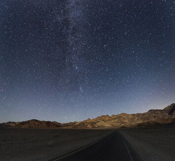 USA, California, Death Valley, night shot with stars and milky way over road to Zabriskie Point - EPF00292