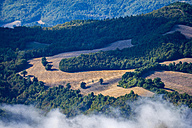 Italy, Marche, Gola di Furlo, view to forests and fields from above - LOMF00498