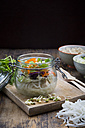 Asian rice noodle soup with vegetables and tofu in jar - LVF05810