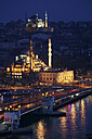 Turkey, Istanbul, view to lighted Haghia Sophia and Blue Mosque from Galata Tower by night - DSGF01444