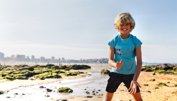 Portrait of blond boy on the beach - MGOF02832
