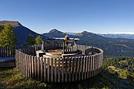 Italy, Alto Adige, Latemar, hiker at observation deck - LBF01537