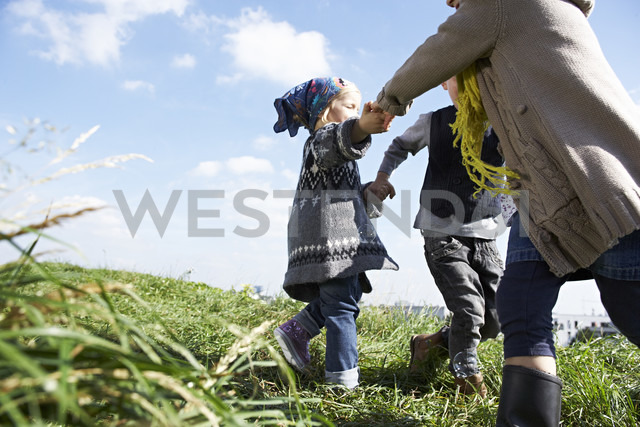 Three children playing ring-a-ring-a-roses in meadow - FSF00669