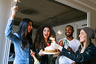 Group of young people celebrating birthday - VABF01067