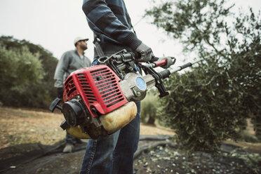 Spain, man using vibrator for olive harvest, close-up - JASF01475