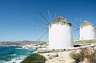 Greece, Mykonos, view of traditional windmills - GEMF01464
