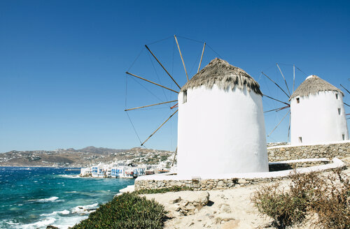 Greece, Mykonos, view of traditional windmills - GEMF01464