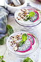 Smoothie bowls with dragon fruit, chia seeds and roasted hazelnuts - SBDF03129