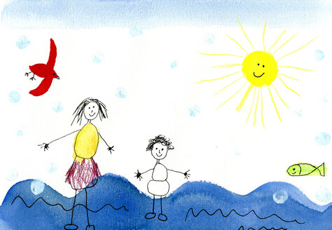 Children's drawing of happy mother with child on vacation - CMF00634