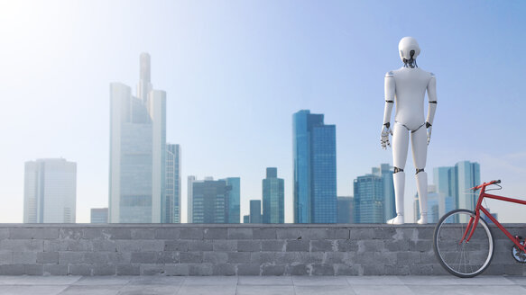 Robot standing on wall looking at skyline - AHUF00305