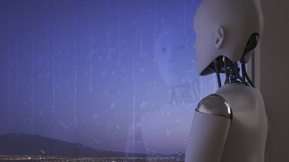 Robot looking out of rainy window - AHUF00308