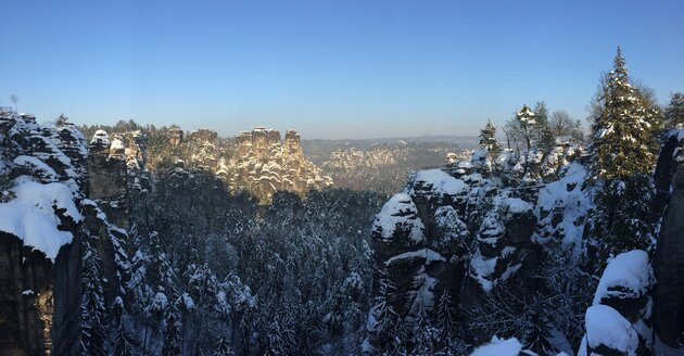 Germany, Saxony, Saxon Switzerland, Bastei region in winter - JTF00801
