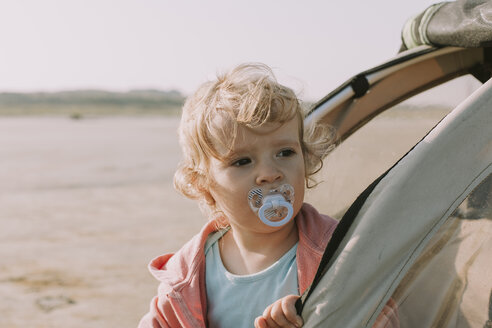 Netherlands, Schiermonnikoog, little girl looking out of bicycle trailer on the beach - DWF00282
