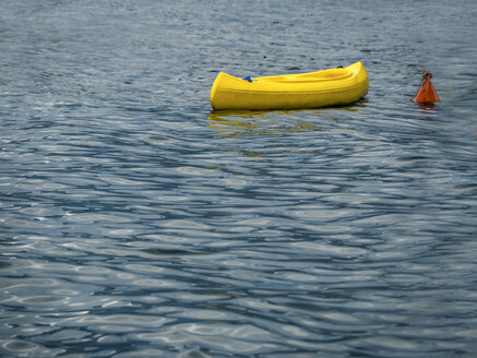 Italy, Sicily, yellow boat anchoring on the sea - EJWF00841