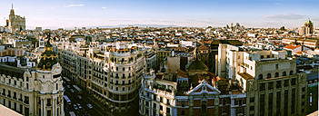Spain, Madrid, cityscape with Gran Via street - KIJF01176