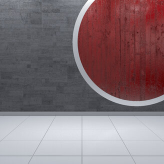 Concrete wall with red circle, 3d rendering - UWF01113