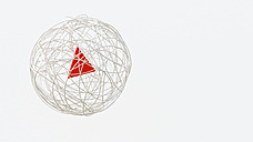String sphere with red triangle in the center, 3d rendering - UWF01116