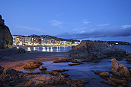Spain, Catalonia, Lloret de Mar town on Costa Brava, beach and sea shore at night - ABOF00161