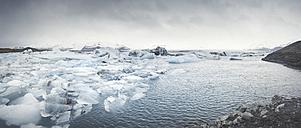 Iceland, panoramic view of Joekulsarlon, glacial river lagoon - EPF00321