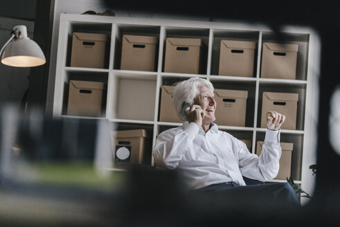 Laughing senior businessman on the phone in his office - KNSF01000