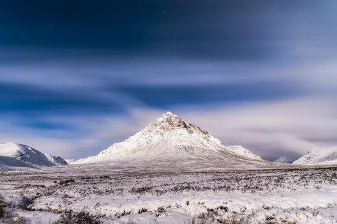 UK, Scotland, Glencoe, Buachaille Etive Mor in winter at night - SMAF00670