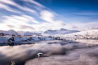 UK, Scotland, Rannoch Moor, Loch Ba and Black Mount Mountain Range in winter - SMAF00682