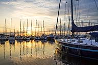 Germany, Kuehlungsborn, marina at sunrise - PUF00588