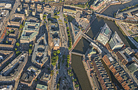 Germany, Hamburg, aerial view of Mitte and Kontorhaus Quarter with Chile House and Sprinkenhof - PVCF00982