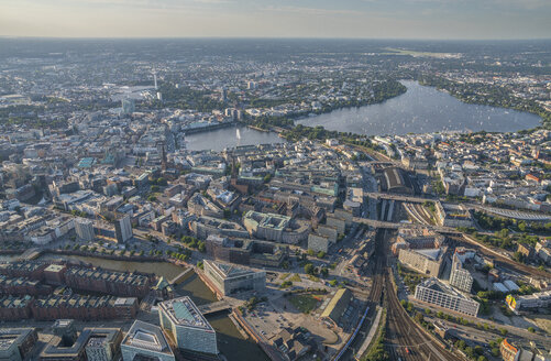Germany, Hamburg, aerial view of district Mitte with Alster Lake - PVCF00985