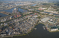 Germany, Hamburg, aerial view of harbor industrial area - PVCF00997
