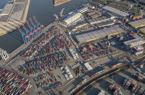 Germany, Hamburg, aerial view of container terminal Tollerort - PVCF01003