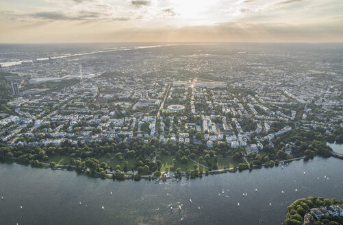 Germany, Hamburg, aerial view of Outer Alster Lake in the evening - PVCF01018