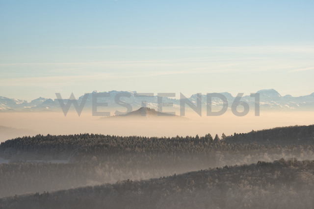 Germany, Baden-Wuerttemberg, Constance district, Hegau, volcanic landscape and fog - ELF01829
