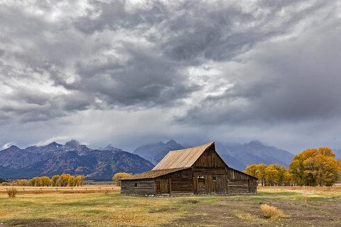 USA, Wyoming, Grand Teton National Park, Jackson Hole, T. A. Moulton Barn in front of Teton Range - FOF08852