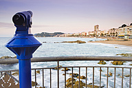 Spain, Costa Brava, Lloret de Mar, viewpoint with coin operated binoculars at sunrise - SKCF00254