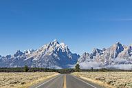 USA, Wyoming, Rocky Mountains, Grand Teton National Park, Teton Park Road with Rockchuck Peak, MMount Saint John and Mount Woodring - FOF08881