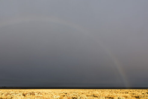 USA, Wyoming, Rocky Mountains, Grand Teton National Park, rainbow in stormy sky - FOF08884