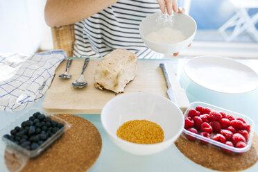 Young woman preparing vegan cake - VABF01189