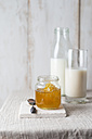 Honey jar with honeycomb and milk - MYF01878