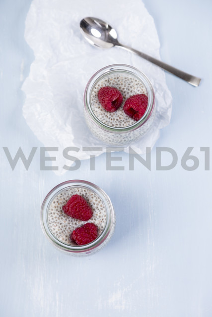 Glass of chia pudding with soya vanilla milk and raspberries - JUNF00871