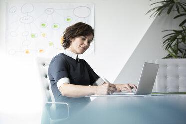 Businesswoman using laptop in office - RBF05623