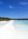 Maledives,South Male Atoll, Sunshades and chair on the beach - JLRF00090