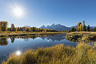 USA, Wyoming, Grand Teton National Park, view to Teton Range with Snake River in the foreground - FOF08901