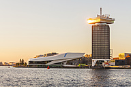 Netherlands, Amsterdam, view to Eye Film Institute, A'Dam Lookout and IJ River in the foreground at twilight - WD03911