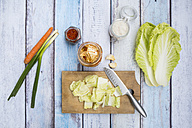 Glass of Kimchi, ingredients, wooden board and kitchen knife on wood - LVF05894